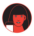 flat of a girl with smartphone vector image