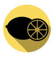 fruits lemon sign flat black icon with vector image vector image