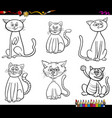 funny cats characters coloring book vector image vector image
