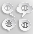 Globe White flat buttons on gray background vector image vector image