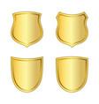 gold shield shape icons set 3d golden emblem vector image