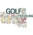 golf accessories for frequent fliers text vector image vector image