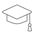 graduation cap thin line icon school education vector image vector image