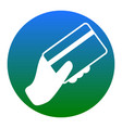 hand holding a credit card white icon in vector image