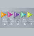 infographic five step with 3d triangle arrow vector image vector image