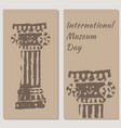 international museum day beige background flyers vector image vector image