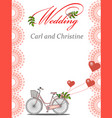 invitation for a wedding with a bicycle vector image vector image