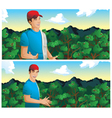 man talking in coffee field vector image vector image