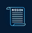 mission document creative line icon or vector image