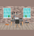 modern workspace design in hipster style with vector image vector image