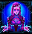 neon horoscope cyberpunk libra zodiac sign vector image vector image