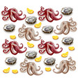 octopus and oysters pattern realistic vector image