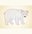 outline golden bear icon on a black vector image