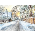 painting of beautiful winter in the country vector image vector image