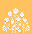 paper cut growing flowers - modern colorful vector image