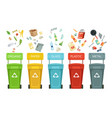 plastic containers for garbage of different types vector image vector image