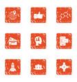 rocket initiate icons set grunge style vector image