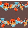 Seamless background with skull and elements vector image