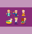 set of funny king with different emotions old man vector image vector image