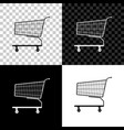shopping cart icon isolated on black white and vector image vector image