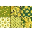 Six seamless floral patterns vector image