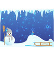 snowman with cute broom vector image vector image