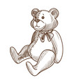 soft adorable teddy bear with bow on neck vector image vector image