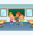 students in classroom background vector image