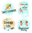 sweet summer keep calm and have fun party set vector image vector image
