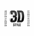 three-dimensional style font design 3d alphabet vector image