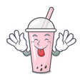 tongue out raspberry bubble tea character cartoon vector image vector image