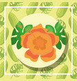 tropical leaves round banner hibiscus flower vector image vector image