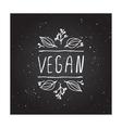 Vegan product label on chalkboard vector image vector image