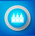 white jurors icon isolated on blue background vector image vector image