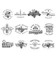 wine black logos labels set winery wine shop vector image vector image