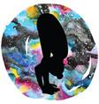 women silhouette uttanasana forward fold yoga vector image vector image