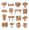 wooden road signs and pointers set for information vector image