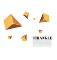 yellow realistic triangles and golden light vector image vector image