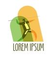 javelin logo design template athlete or vector image