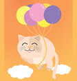 a fat cat floating in orange sky there are vector image vector image