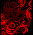 abstract red fire swirls on black background vector image vector image