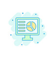 analytic monitor icon in comic style diagram vector image vector image
