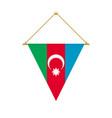 azerbaijan triangle flag hanging vector image vector image