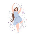 beautiful girl dancing in flowers with prosthetic vector image