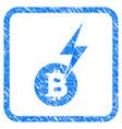 bitcoin lightning strike framed stamp vector image vector image
