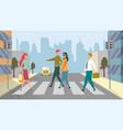 blind person crossing pedestrian area in city vector image vector image