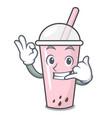call me raspberry bubble tea character cartoon vector image vector image