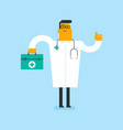caucasian white doctor holding a first aid box vector image vector image