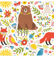 childish seamless pattern with adorable animals vector image vector image
