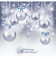 christmas background with baubles in silver vector image vector image
